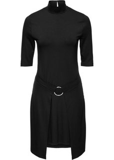 Трикотажное платье с имитацией запаха (черный) Bonprix