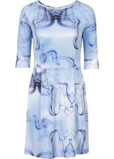 Платье из материала под неопрен (синий с рисунком) Bonprix