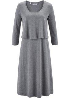 Трикотажное платье из нескольких слоев (серый меланж) Bonprix