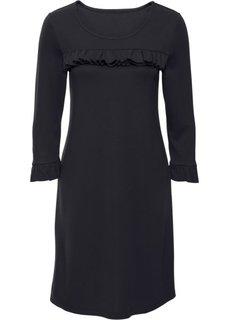 Обязательный атрибут гардероба: трикотажное платье с воланом (черный) Bonprix