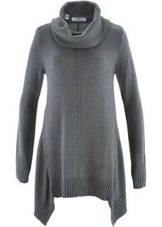 Пуловер с высоким воротом (серый меланж) Bonprix