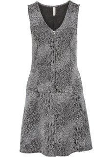 Платье (черный/белый твиловый меланж) Bonprix