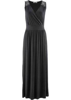 Трикотажное платье макси (черный) Bonprix
