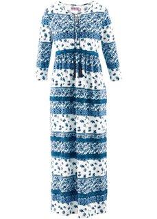 Трикотажное макси-платье дизайна Maite Kelly с рукавом 3/4 (небесно-голубой/белый с узором) Bonprix