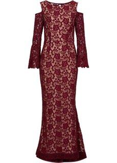 Кружевное платье (гранатовый/светлокоричневый) Bonprix