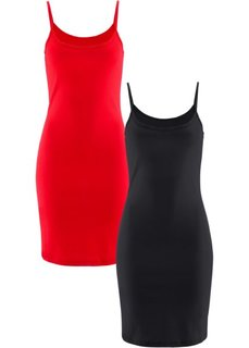 Трикотажное платье (2 штуки в упаковке) (клубничный + черный) Bonprix