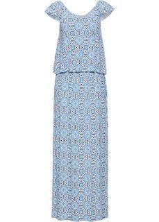 Платье с открытыми плечами (синий с рисунком) Bonprix
