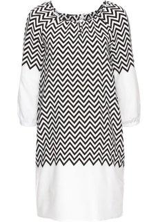 Платье с принтом (кремовый/черный) Bonprix