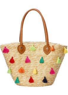 Соломенная сумка с разноцветными помпонами (натуральный цветной) Bonprix