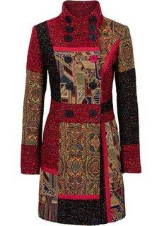 Пальто в миксе узоров и материалов (красный с рисунком) Bonprix