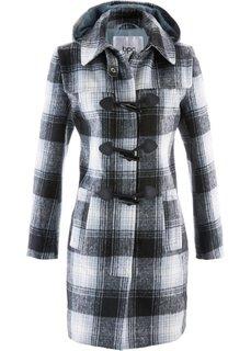 Пальто с капюшоном (серебристо-серый в клетку) Bonprix