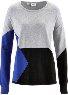 Пуловер в стиле пэчворк (светло-серый меланж/сапфирно-синий/черный с узором) Bonprix