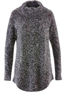 Пуловер-пончо с длинным рукавом (антрацитовый меланж) Bonprix