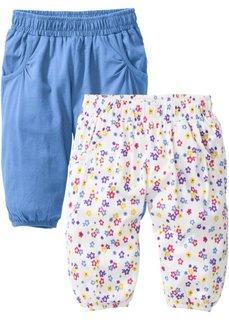 Мода для малышей: брюки-шаровары из биохлопка (2 шт.), Размеры  56/62-104/110 (голубой + цвет белой шерсти) Bonprix