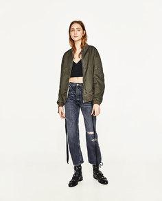 Куртка-бомбер с вышивкой на спине Zara