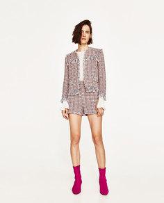 Жакет из текстурной ткани с необработанными кромками Zara