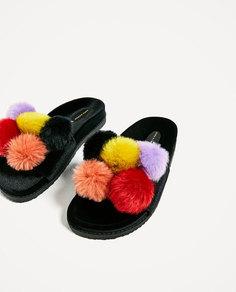 Туфли из бархата с помпонами Zara