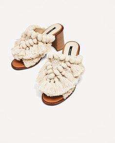 Туфли без задников, с помпонами Zara