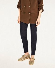 Золотистые туфли-блюхерс с плетеным узором Zara
