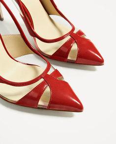 Красные туфли-лодочки с деталями из винила Zara