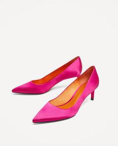Туфли из атласа на среднем каблуке Zara