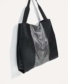 Сумка-шопер «рок» с сетчатой деталью Zara