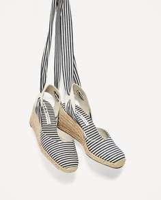 Туфли в полоску на танкетке Zara