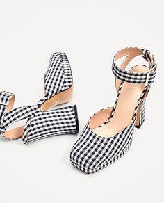 Туфли в клетку на каблуке и платформе Zara