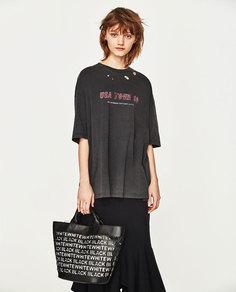 Черная сумка-шопер с надписями Zara