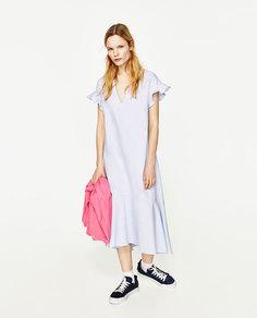 Платье миди с юбкой клеш Zara