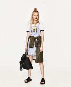 Платье в полоску с вышивкой Zara