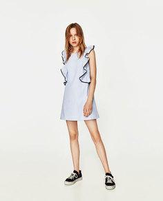 Платье с воланами и контрастными деталями Zara