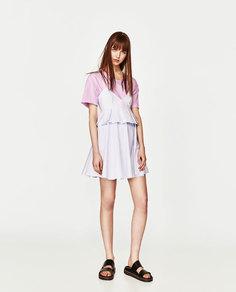 Комбинированное платье на бретелях Zara