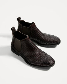 Коричневые кожаные ботинки с плетеным узором Zara