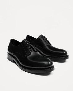 Черные кожаные туфли со шнуровкой Zara