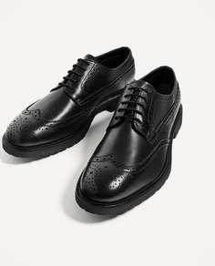 Черные кожаные туфли-блюхерс на подкладке Zara