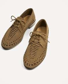 Коричневые замшевые туфли с плетеным узором Zara