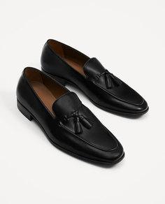 Черные кожаные мокасины с кисточками Zara