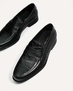 Черные мокасины из кожи с тиснением Zara