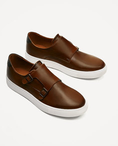 Коричневые спортивные туфли с двумя пряжками Zara