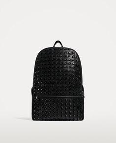"""Черный рюкзак с заклепками, для ноутбука с диагональю 13"""" Zara"""