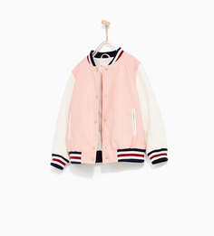Куртка-бомбер из искусственной кожи с контрастными рукавами Zara