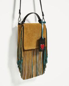Кожаная сумка с ремнем через плечо и бахромой Zara