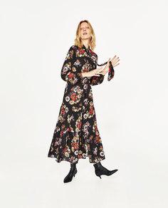 Длинное платье с цветочным принтом Zara