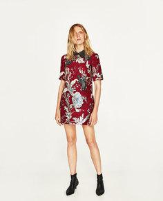 Платье из жаккардовой ткани с нашивками Zara