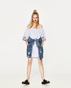 Платье с вышивкой и открытыми плечами Zara