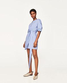 Платье из поплина с поясом Zara