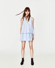 Платье-комбинезон в полоску с воланами Zara