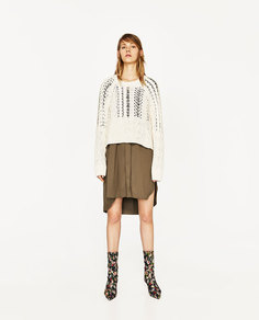 Ажурный свитер с узором «косы» Zara