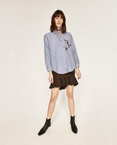 Рубашка в стиле oversize с вышивкой Zara
